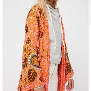 Free People pink & orange kimono maxi coat